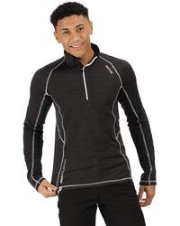 Regatta Yonder Quick Drying Zip Neck Long Sleeve Grid Jersey Fleece - Nero