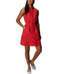 Columbia Pfg Bonehead Stretch Sleeveless Dress - Red