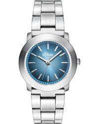 S.oliver Armbanduhr XS Analog Quarz Edelstahl SO-2798-MQ - Blau