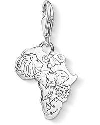 Thomas Sabo Charm Pendant Africa 925 Sterling Silver, Blackened 1417-637-21 - Metallic