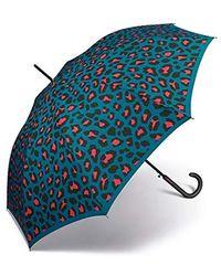 Benetton Ombrello da donna lungo automatico - Blu