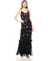 Adrianna Papell Beaded Floral Dress With Tiered Skirt - Black