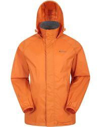 Mountain Warehouse Pakka wasserdichte Jacke zusammenfaltbare Regenjacke Windjacke Kapuze Tragebeutel Camping Outdoor - Orange