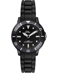 S.oliver Time Quarz Uhr mit Silikon Armband - Schwarz