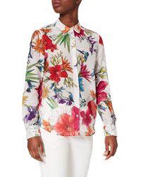 GANT D2. Humming Floral CO/Silk Shirt Camicia da Donna - Rosso