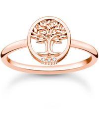 Thomas Sabo Ring Tree of Love mit weißen Steinen roségold 925 Sterlingsilber - Mettallic