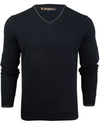 Ben Sherman S V Neck Twin Tipped Cotton Knit Jumper By - Blue