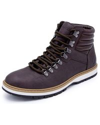 Nautica Alize Work Boot, Ankle High Lace-Up Snow Hikers-Brown-8.5 - Bleu
