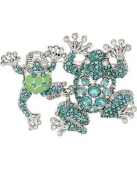 Napier Green Duo Frog Brooches And Pin