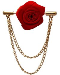 HIKARO Amazon Brand Red Rose With Double Hanging Chain Lapel Pin Brooch
