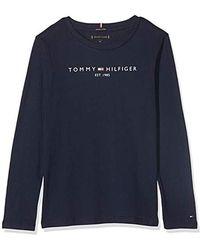 Tommy Hilfiger Essential Hilfiger Tee L/S T- T-Shirt À Manches Longues Garçon - Bleu