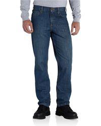 Carhartt Mens Straight Traditional Fit Elton Jean,trailblazer,42x34 - Blue