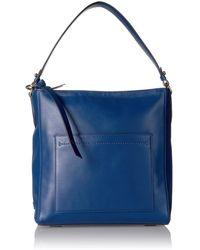 Cole Haan Kaylee Smooth Leather Bucket Hobo - Blue