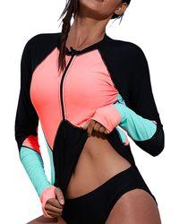 HIKARO S Zip Front Long Sleeved Rashguard Swimwear Colour Block Printed Tankini Swimsuit No Bottom Pink Uk Size 16