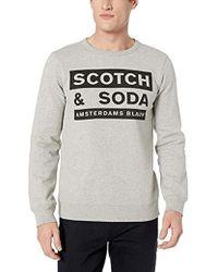Scotch & Soda Scotch And Soda Ams Blauw Graphic Sweat in Regular Fit, Felpa Uomo, Multicolore (Grey Melange 98), Large - Grigio