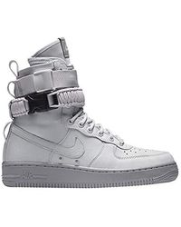Nike Unisex Shoes Wmns Sf Air Force 1 Leather And Grey Fabric 857872-003 - Gray