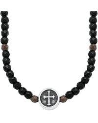 S.oliver Collier Kreuz Edelstahl mattiert Hämatit braun 50+5 cm schwarz