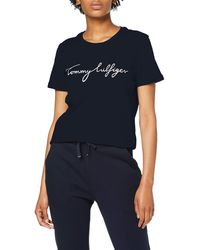 Tommy Hilfiger Heritage Crew Neck Graphic Tee T- T-Shirt Femme - Bleu