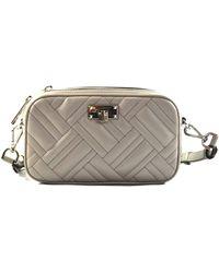 Michael Kors Peyton Small Camera Leather Crossbody Bag Purse Handbag (Pearl Grey) - Grau