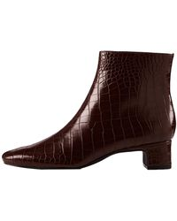 FIND Block Heel Square Toe Bottines - Marron