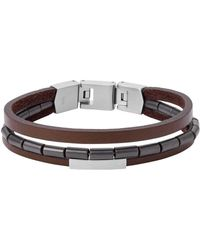 Fossil Men Stainless Steel Strand Bracelet - Jf03131040 - Brown