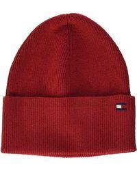 Tommy Hilfiger Essential Knit Beanie Chapeau - Rouge
