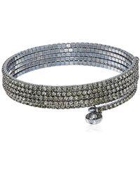 Anne Klein - Hematite-tone Black Diamond Multi-row Flex Bracelet - Lyst