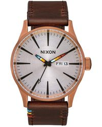 Nixon Sentry Leather A105-100m Water Resistant Analog Classic Watch - Braun