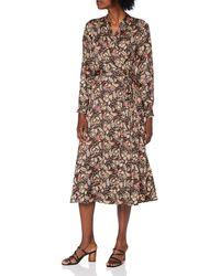 Scotch & Soda Belted Midi Length Wrap Dress Vestito Casual - Marrone
