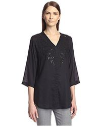 SOCIETY NEW YORK - Embellished Button Front Shirt - Lyst