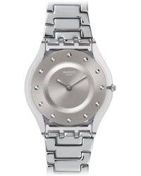 Swatch Digital Quarz Uhr mit Edelstahl Armband SFK393G - Grau