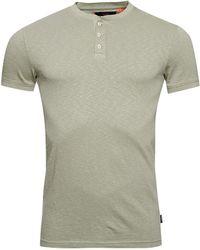 Superdry - T-Shirt à col Tunisien et ches Courtes Heritage Vert Pétrole L - Lyst