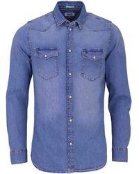 Tommy Hilfiger Western Denim Shirt Mslb Chemise Casual - Bleu
