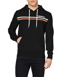 Superdry Core Logo Stripe Hood Sweat-Shirt À Capuche - Noir