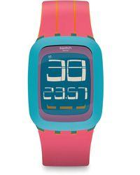 Swatch Digital Quarz Uhr mit Silikon Armband SURS103 - Blau