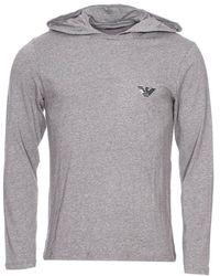 Emporio Armani Flash Hooded Sweater Longsleeve Langarm Shirt mit Kapuze L Dark Grey Melange - Grau