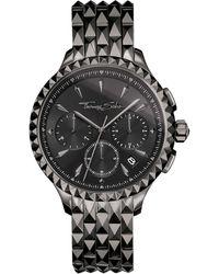 Thomas Sabo S Chronograph Quartz Watch With Stainless Steel Strap Wa0348-202-203-38 Mm - Black