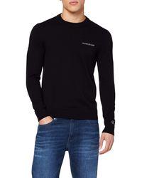 Calvin Klein Instit Chest Logo Cn Sweater Sudadera - Negro