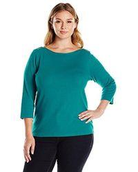 Rafaella - Plus Size Quarter Sleeve Boat Neck Shirt With Shoulder Zip Details - Lyst
