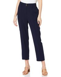 Dorothy Perkins Navy Tapered Trousers Work Utility Trousers - Blue