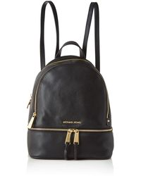 Michael Kors Rhea Black Leather Zip Fastening Backpack