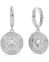 Guess Ohrringe mit Liebe aus UBE70026 Edelstahl. rhodiniert Herz-Ring Swarovski Währung - Mehrfarbig
