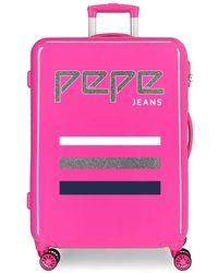 Pepe Jeans World Maleta mediana Rosa 48x68x26 cms Rígida ABS Cierre combinación 70L 3,7Kgs 4 Ruedas dobles