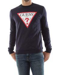 Guess Sweatshirt S Gents Crew Pullover T Shirt Tee Top Jumper Neck Regular Jet Black Jblk L - Blue
