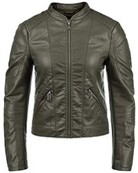 Vero Moda Pulani Wo Faux Leather Jacket Biker Jacket With Funnel Neck Made Of Fake Leather - Multicolour