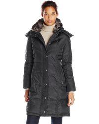London Fog - Chevron Coat With Faux Fur Trimmed Hood - Lyst