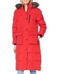 Superdry Longline Faux Fur Everest Coat - Red
