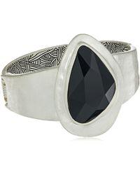 The Sak Large Stone Hinged Bangle Bracelet - Metallic