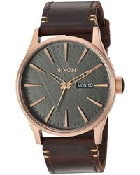 Nixon Stainless Steel Japanese Quartz Fitness Watch With Leather Strap - Brown