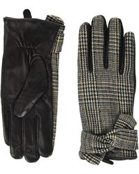 Dorothy Perkins Check Bow Leather Gloves - Black